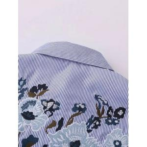 Self Tie Striped Floral Embroidered Shirt - STRIPE M