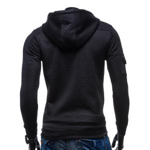 Zip Pocket Drawstring Quilted Hoodie - BLACK 2XL