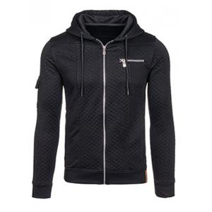Zip Pocket Drawstring Quilted Hoodie - Black - Xl