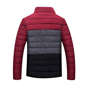 Contrast Insert Stand Collar Zip Up Padded Jacket - RED 2XL