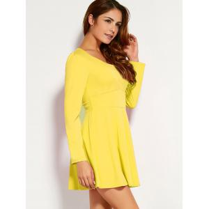 Long Sleeve Fit and Flare Mini Dress -