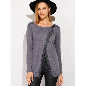 Metal Embellished Tassels Cardigan - DEEP GRAY XL