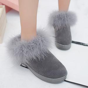 Faux Fur Flocking Snow Boots - GRAY 39