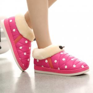 Polka Dot Fur Trim Indoor Outdoor Slippers -
