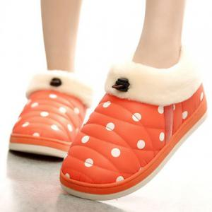 Polka Dot Fur Trim Indoor Outdoor Slippers