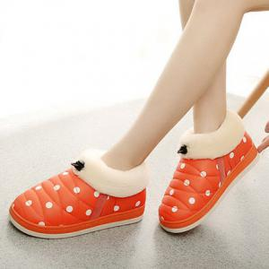 Polka Dot Fur Trim Indoor Outdoor Slippers - ORANGE RED SIZE(39-40)