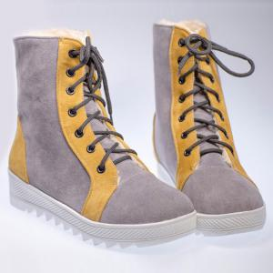 Color Block Suede Platform Shoes - Gray - 39