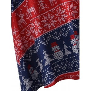 Christmas Snowman Print Swing Dress - BLUE AND RED 4XL