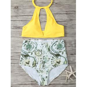 High Waisted Halter Neck Keyhole Bikini - Green And Yellow - L