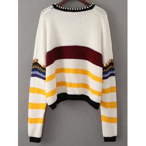 Beading Sequined Color Block Sweater -