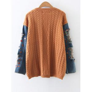 Denim Panel Sequins Cable Knit Sweater -