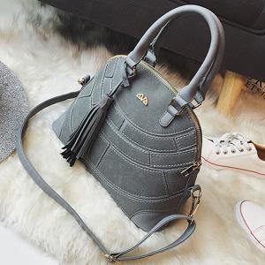 Patch PU Leather Tassel Tote - GRAY