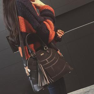 Patch PU Leather Tassel Tote