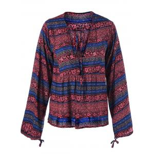 Lace Up Ethnic Print Boho Blouse -