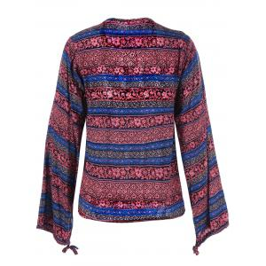 Lace Up Ethnic Print Boho Blouse - DARK RED 2XL