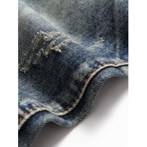 Scratched Multi Pocket Stitching Jeans - BLUE 38