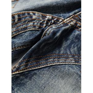 Scratched Multi Pocket Stitching Jeans -