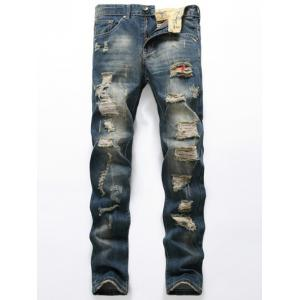 Ripped Zipper Fly Denim Jeans