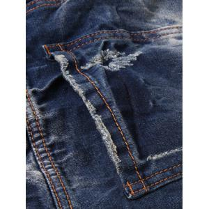 Zipper Fly Pocket Rivets Scratched Ripped Jeans -
