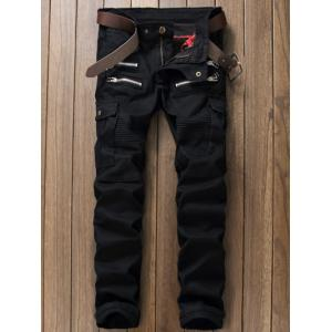 Zippered Multi Pocket Straight Leg Cargo Pants