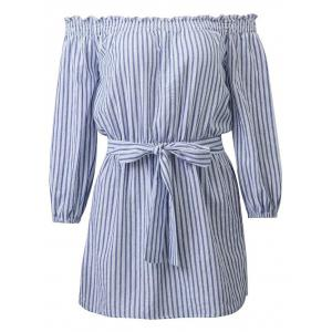 Casual Off Shoulder Striped Belted Dress - Blue And White - L