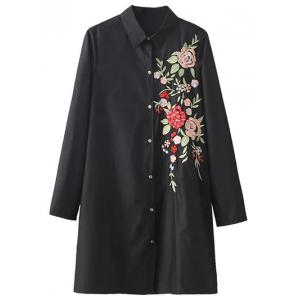 Button Down Floral Embroidered Shirt Dress - Black - S