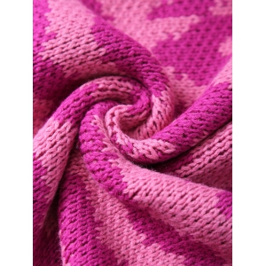 Soft and Comfortable Wavy Design Knitted Fish Tail Blanket - ROSE RED