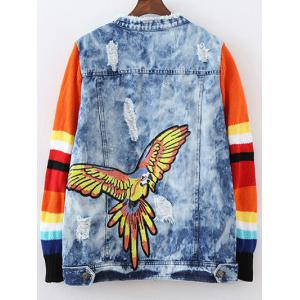 Ripped Patched Denim Spliced Jacket - BLUE L