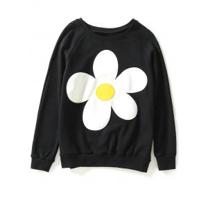Jewel Neck Sun Flower Patch Sweatshirt