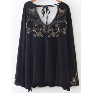 Double V Neck Embroidered Blouse - Black - S