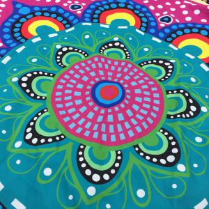 Ethnic Flower and Polka Dot Print Round Beach Throw - BLUE ONE SIZE