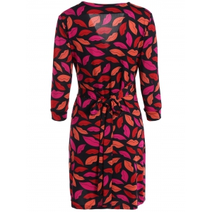 Plunge Neck Red Lip Print Wrap Dress - RED L