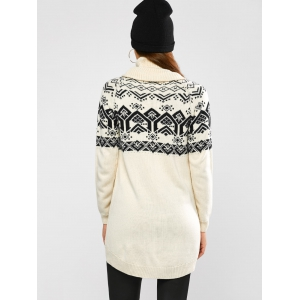 Geometric Jacquard High Low Sweater - BEIGE XL