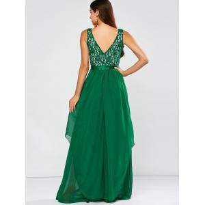 Lace Panel Chiffon Maxi Evening Formal Bridesmaid Prom Dress - GREEN 2XL