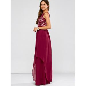 Lace Panel Chiffon Maxi Evening Engagement Prom Dress -