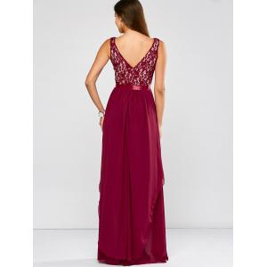 Lace Panel Chiffon Maxi Evening Formal Bridesmaid Prom Dress - WINE RED M