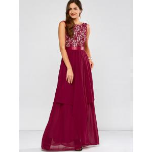 Lace Panel Chiffon Maxi Evening Formal Bridesmaid Prom Dress - WINE RED S