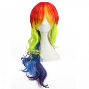 Long Side Bang Wavy Cosplay Rainbow Synthetic Wig - COLORMIX