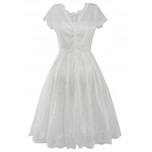 Funky Short Wedding A Line Dress With Sleeves - WHITE XL