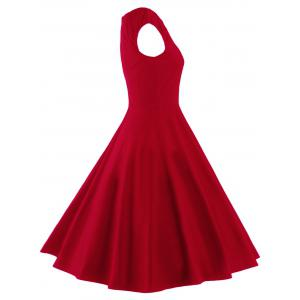 A Line Puffer Cap Sleep Prom Dress - RED L