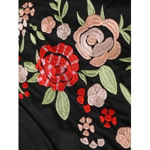 Button Down Floral Embroidered Shirt Dress - BLACK S