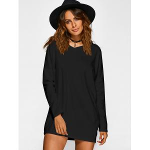 V Neck Long Sleeve Mini Casual Tunic Dress - BLACK XL