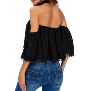 Off The Shoulder Cropped Choker Blouse - BLACK L