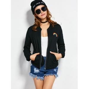 Rainbow Pattern Bomber Jacket - BLACK L