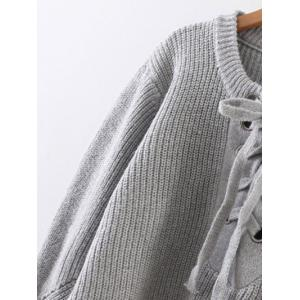 Lace Up Ribbed Pullover Sweater - WHITE ONE SIZE