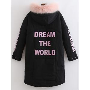 Fuzzy Letter Hooded Padded Coat - BLACK XL