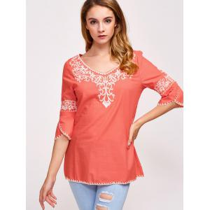 Fall Ethnic Embroidery Covered Edge T-Shirt -