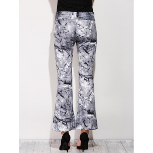 Boot Cut Pants With Chinese Painting Print -