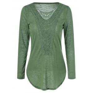 Lace Crochet Scoop Neck T Shirt