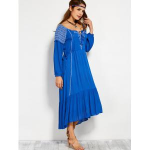Scoop Neck Embroidered Drawstring Maxi Dress -